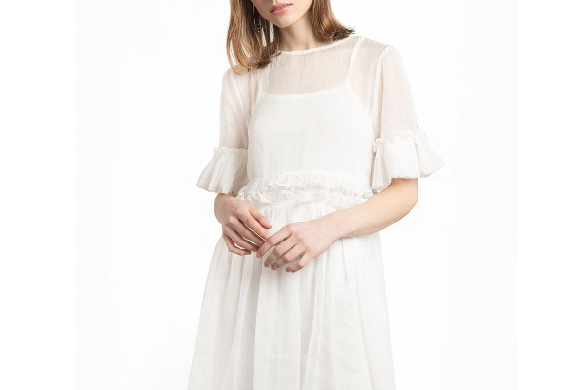 White Sheer Cut Out Waist Dress