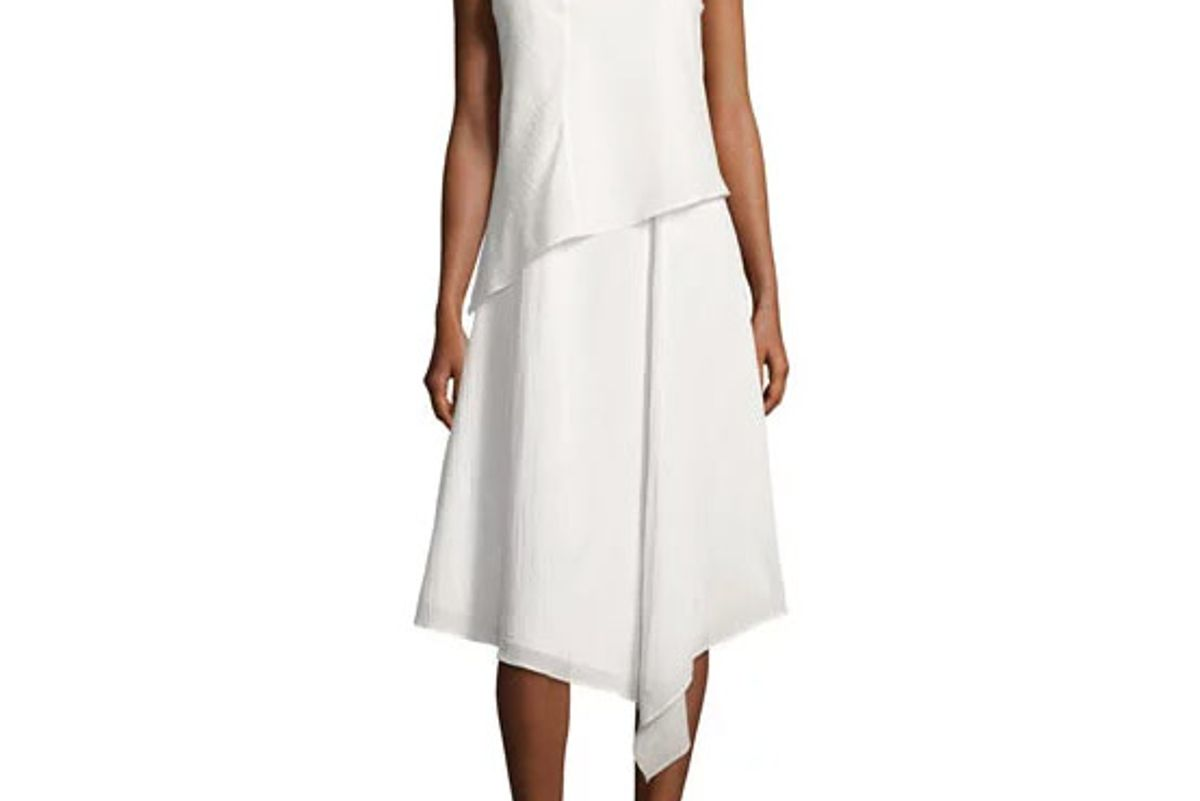 Fernay Paneled Sleeveless Handkerchief-Hem Midi Dress