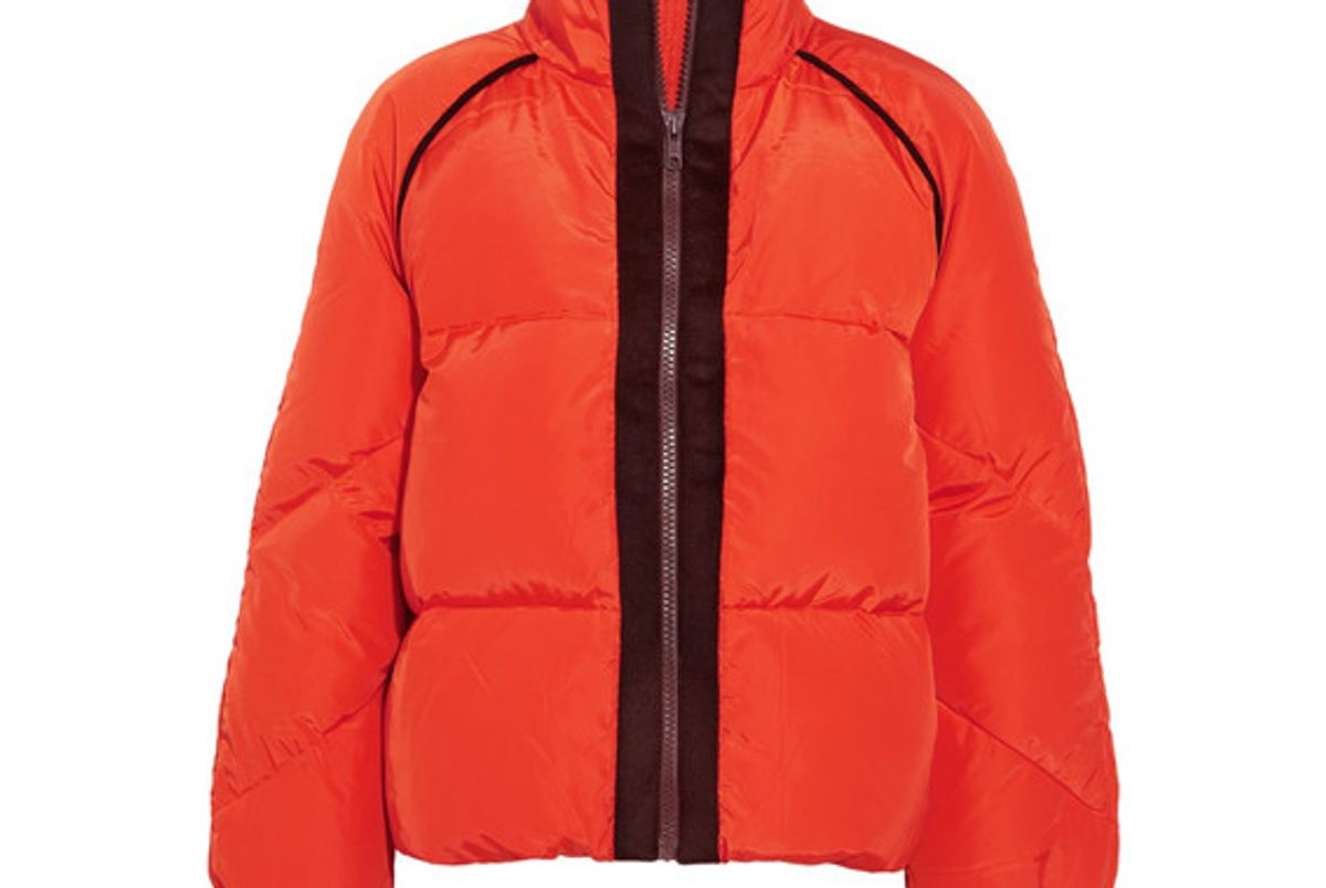 ganni wool felt trimmed quilted shell down jacket