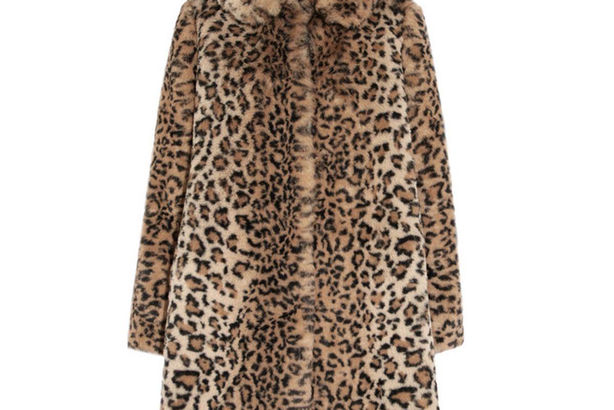 alice olivia kinsley oversized leopard print faux fur coat