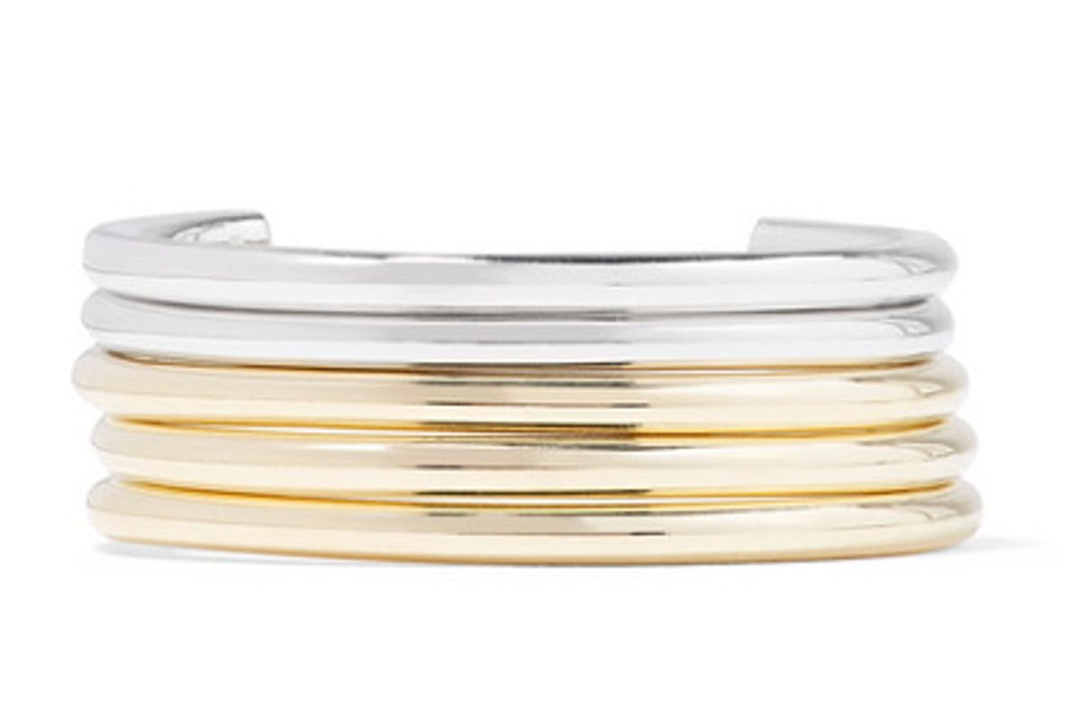 jennifer fisher set of five gold and silver plated cuffs