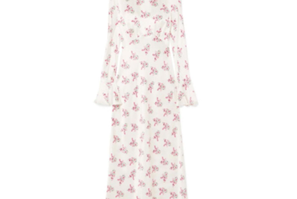 les reveries floral print silk satin maxi dress