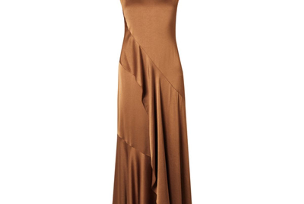 sies marjan zariah draped satin crepe maxi dress
