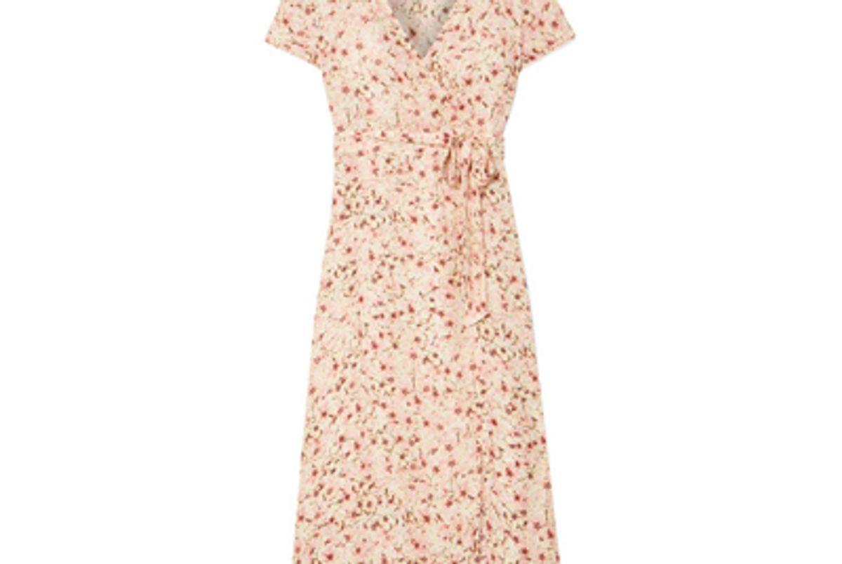 paloma ford siena wrap effect floral print silk chiffon dress