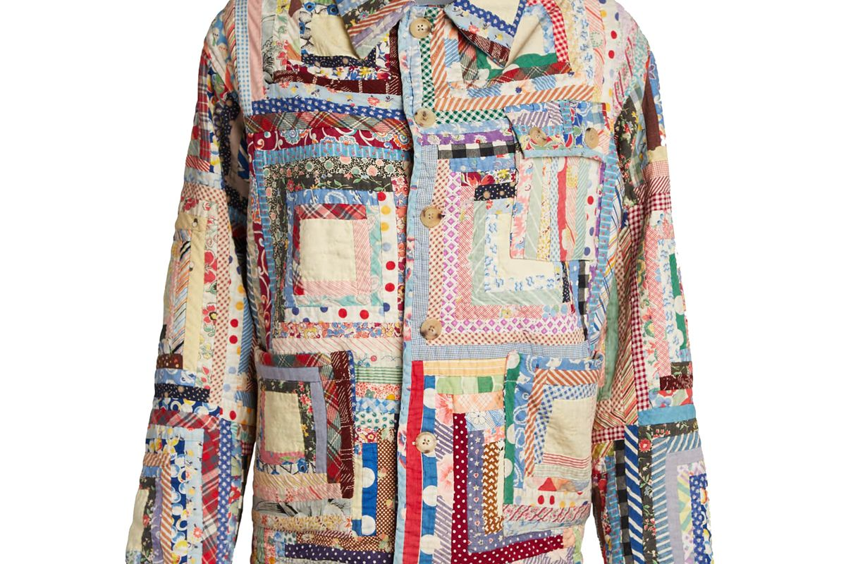 bode quilted patchwork workwear jacket