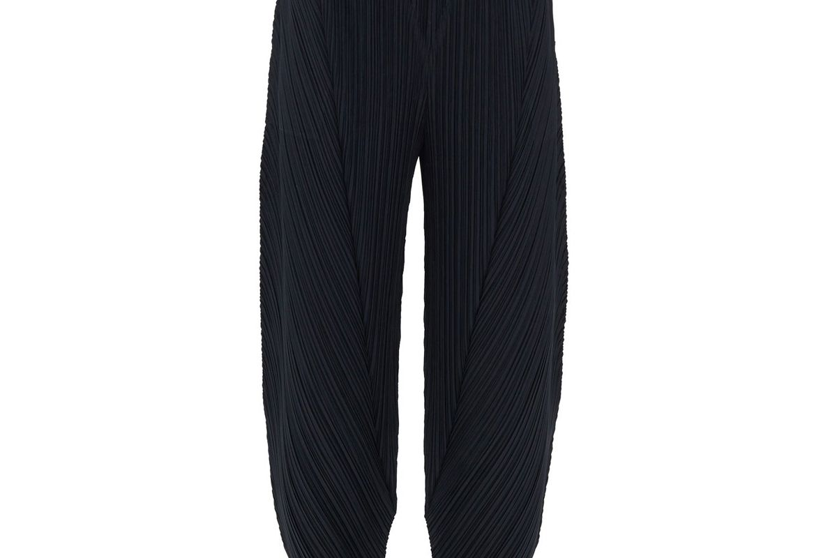 pleats please issey miyake technical pleated tapered leg trousers