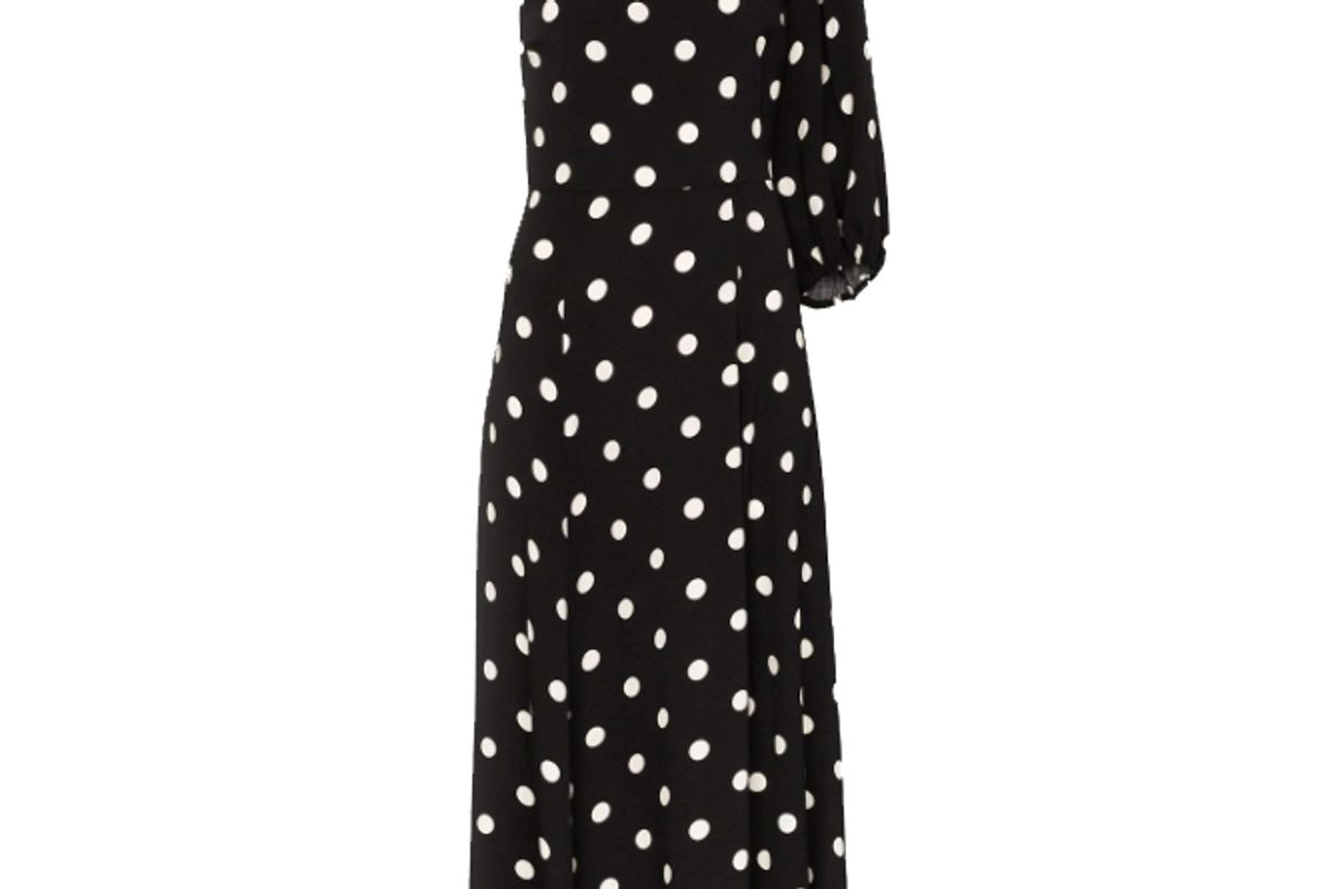 reformation lawrence one shoulder polka dot midi dress