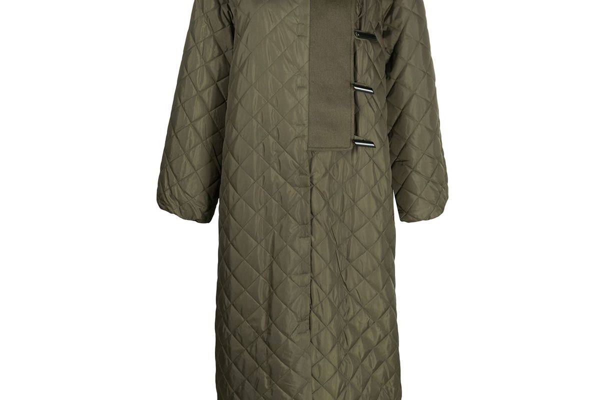 ganni quilted min length coat