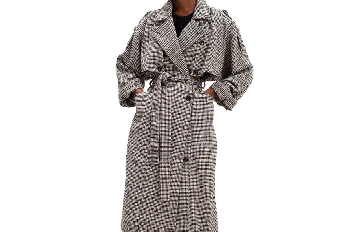 gestuz maria wool blend trench coat by gestuz in black blue check