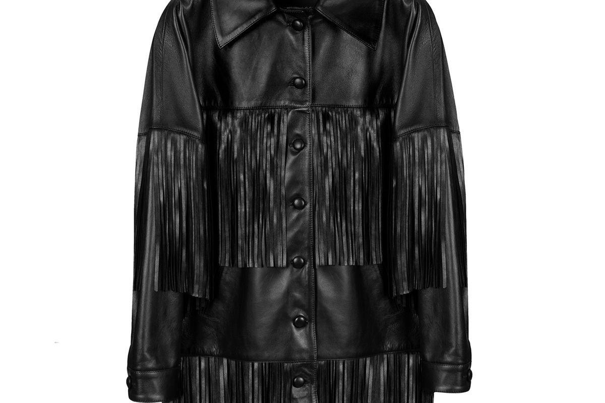 dan cassab rimon lamb leather fringe jacket black