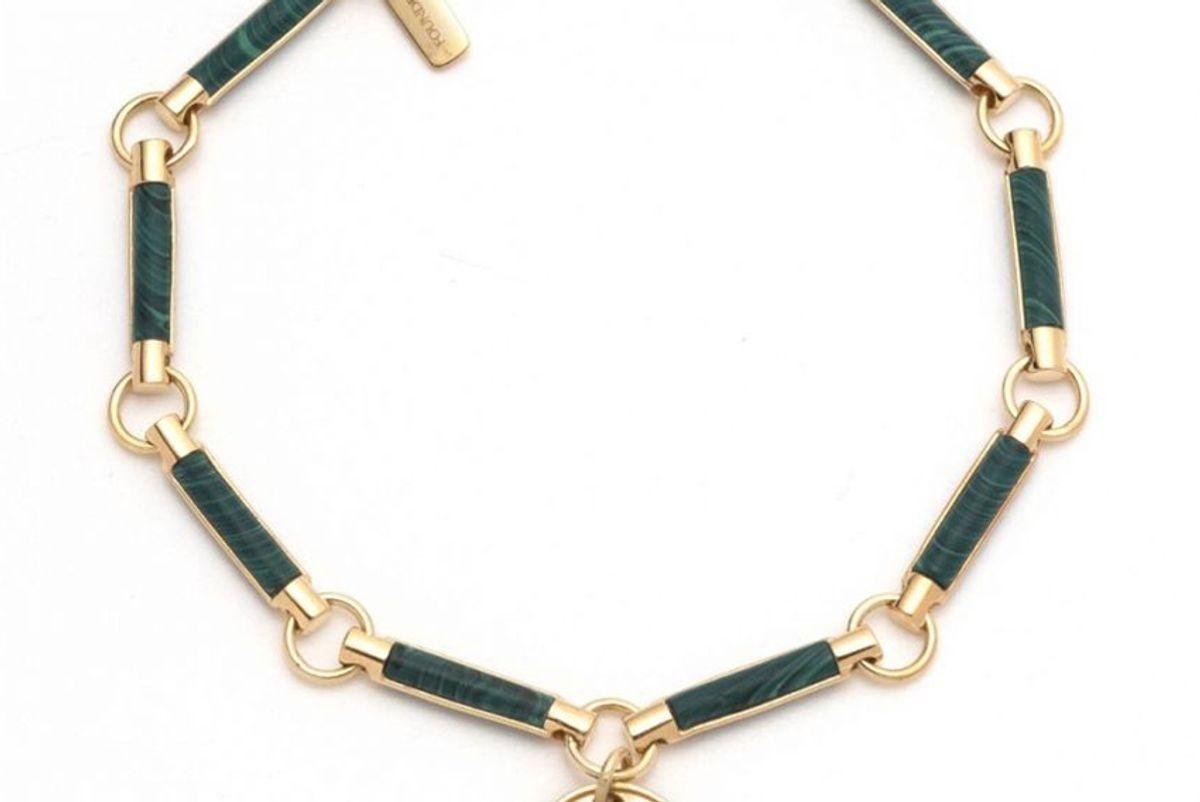 foundrae miniature coin malachite stone bracelet