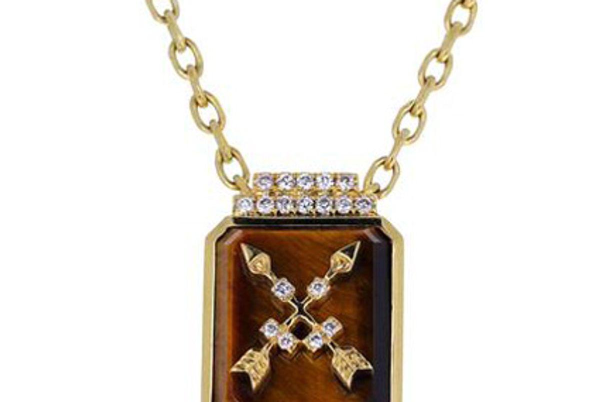 sorellina tigers eye and diamond crossed arrows signet pendant necklace