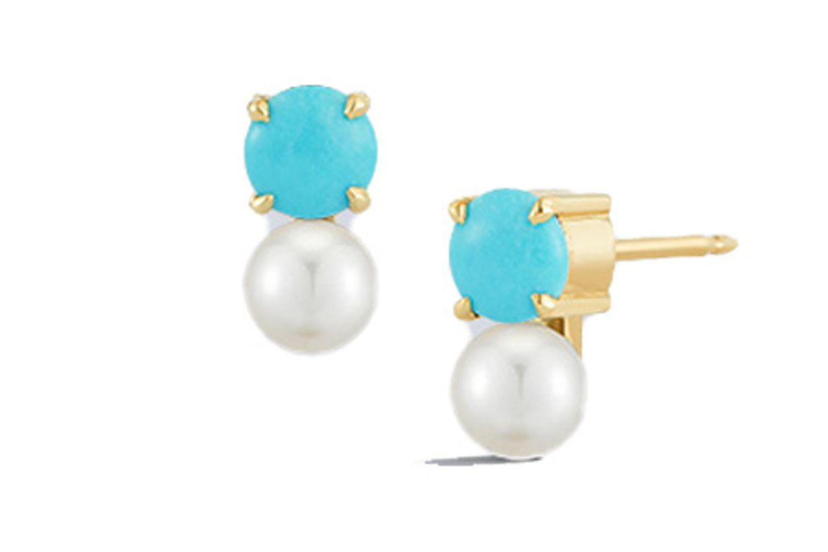 jemma wynne prive petite turquoise and pearl studs