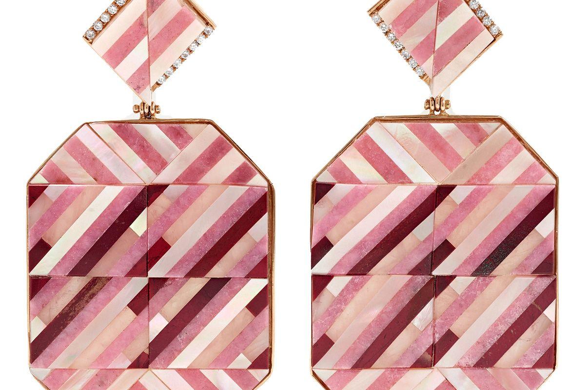 casa castro rose mosaic 18 karat gold multi stone earrings