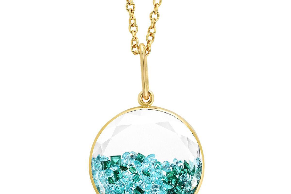 mortiz glik paraiba tourmaline and emerald shaker pendant