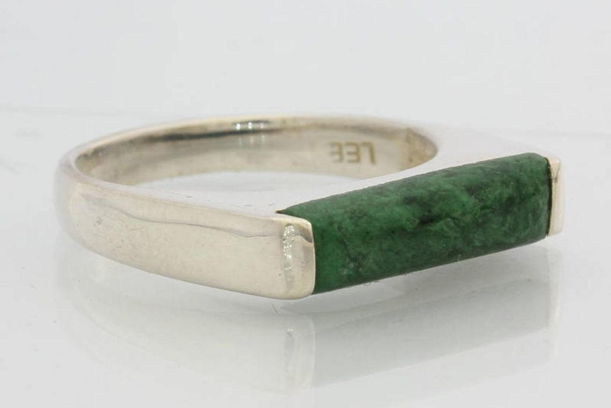 lessgems mawsitsit green burmese maw sit sit gem unisex handmade silver ring size 9