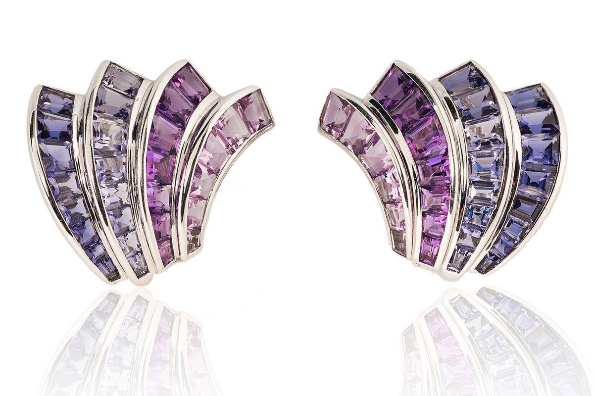 tiina smith jewelry seaman schepps iolite amethyst wave earrings