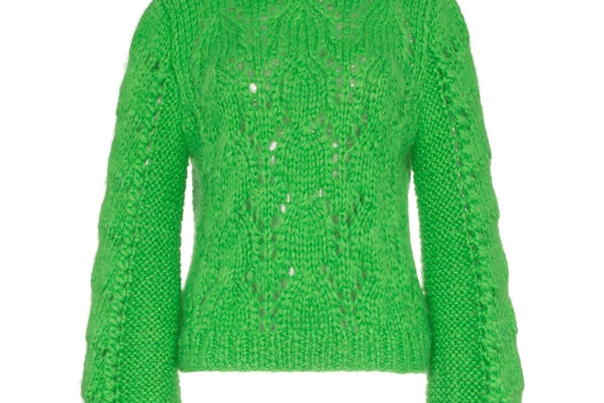 ganni green wool jumper
