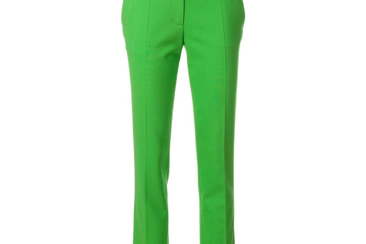 victoria beckham straight green trousers