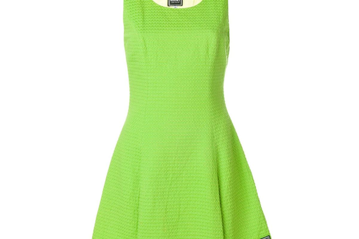 versace vintag embroidered fit and flare dress