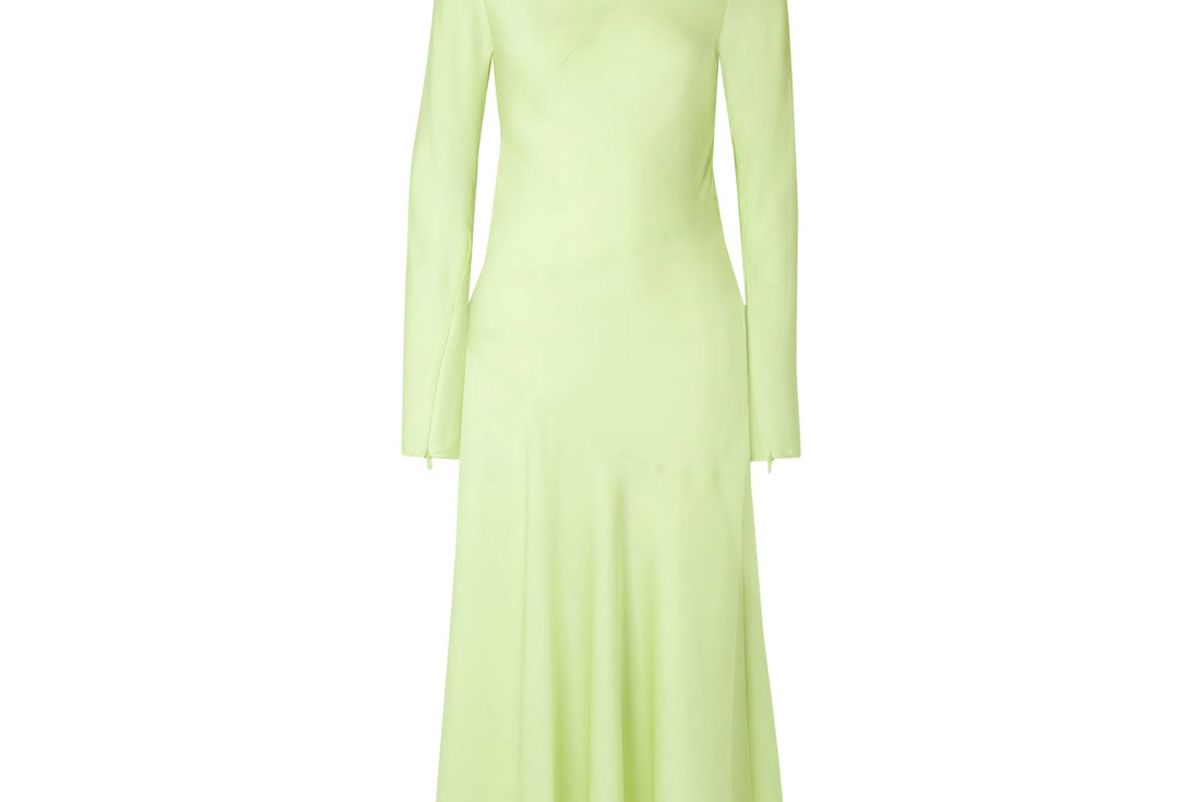by malene birger silk blend turtleneck midi dress