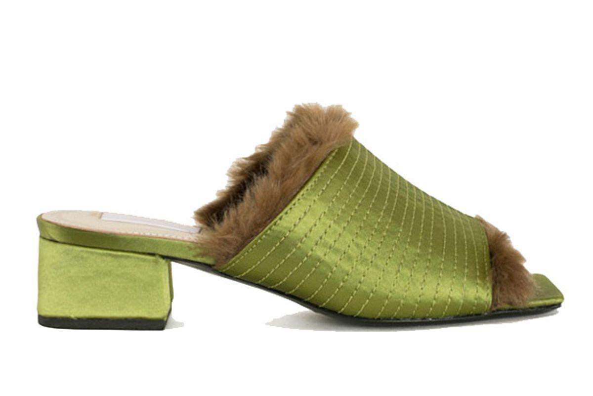 suzanne rae green satin mink slide