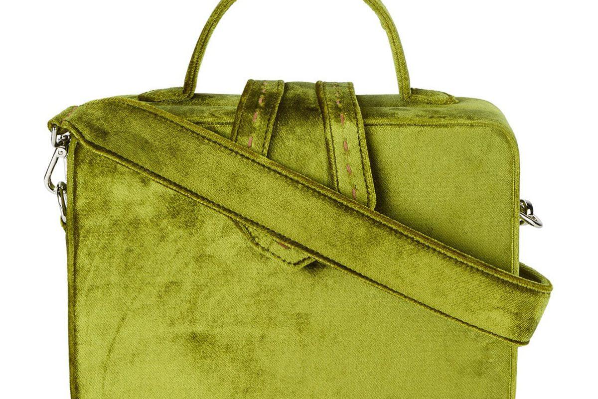 mehry mu green fey velvet box bag