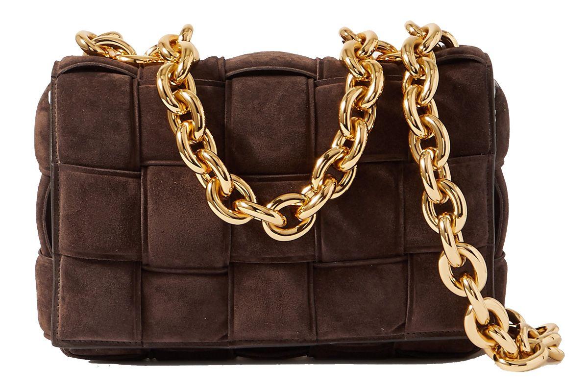 bottega veneta cassette chain embellished padded intrecciato suede shoulder bagembellished padded intrecciato suede shoulder bag