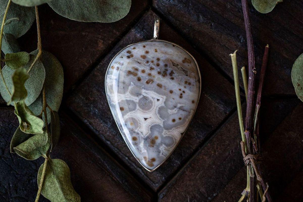 nightbreed creations winter's call ocean jasper sterling silver pendant