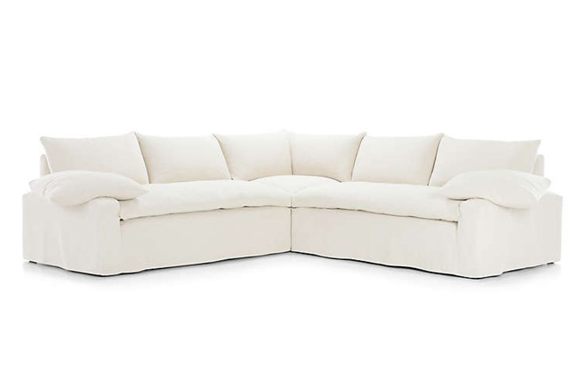 crate and barrel ever slipcovered 3 piece sectional