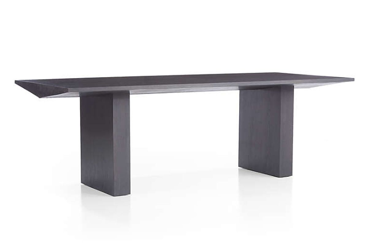crate and barrel van charcoal wood dining table