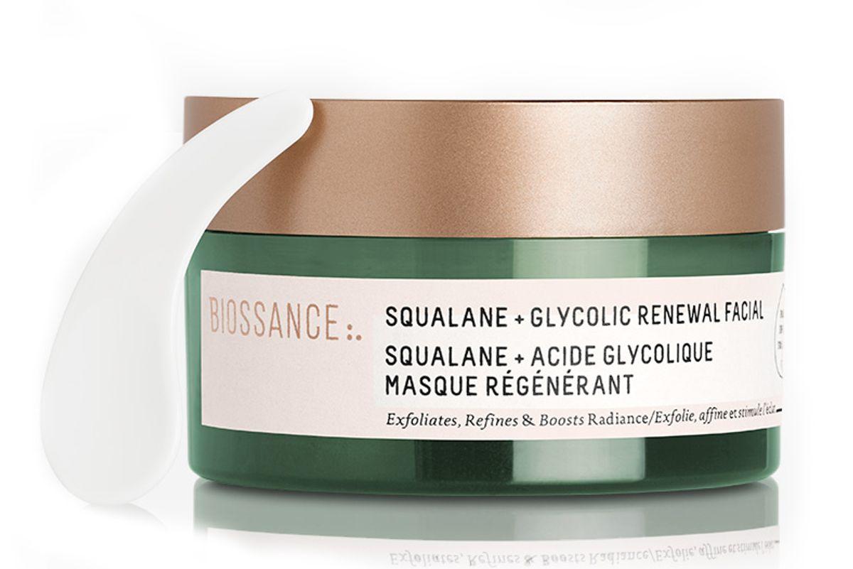 biossance squalane glycolic renewal facial