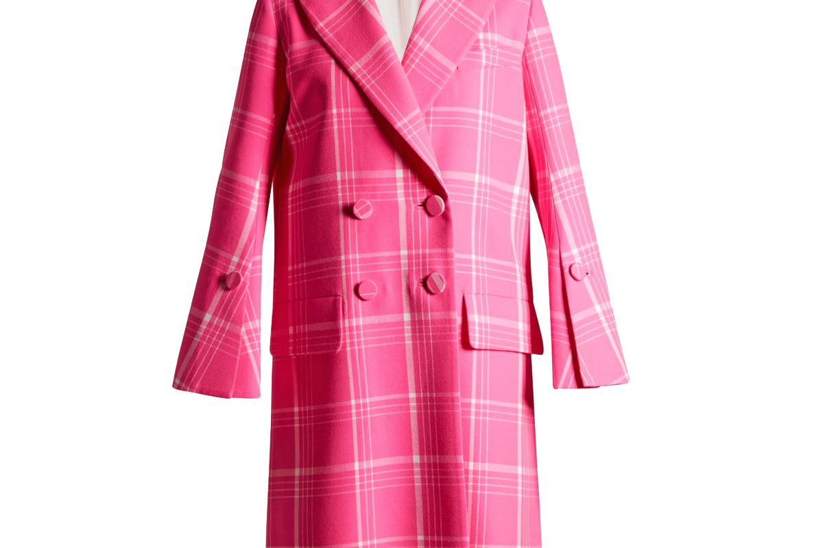 fendi double breasted checked coat