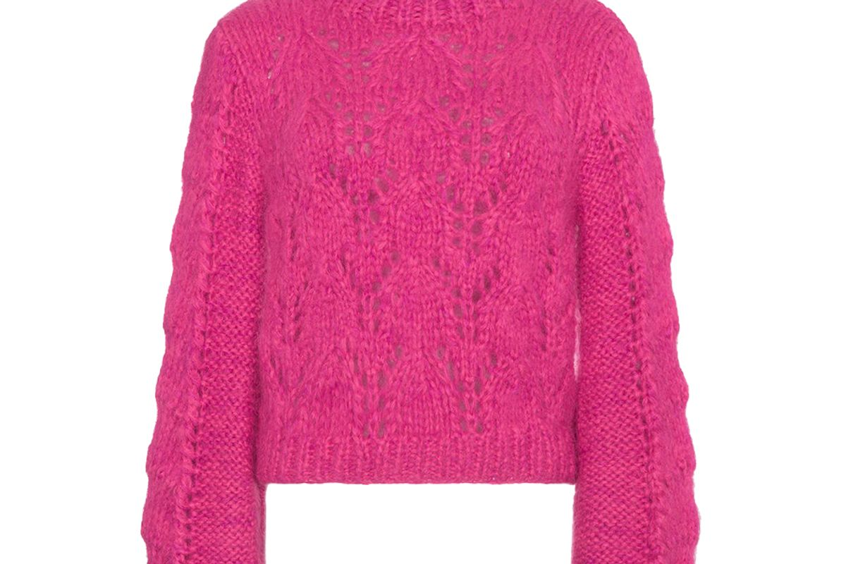 ganni pink julliard knitted jumper