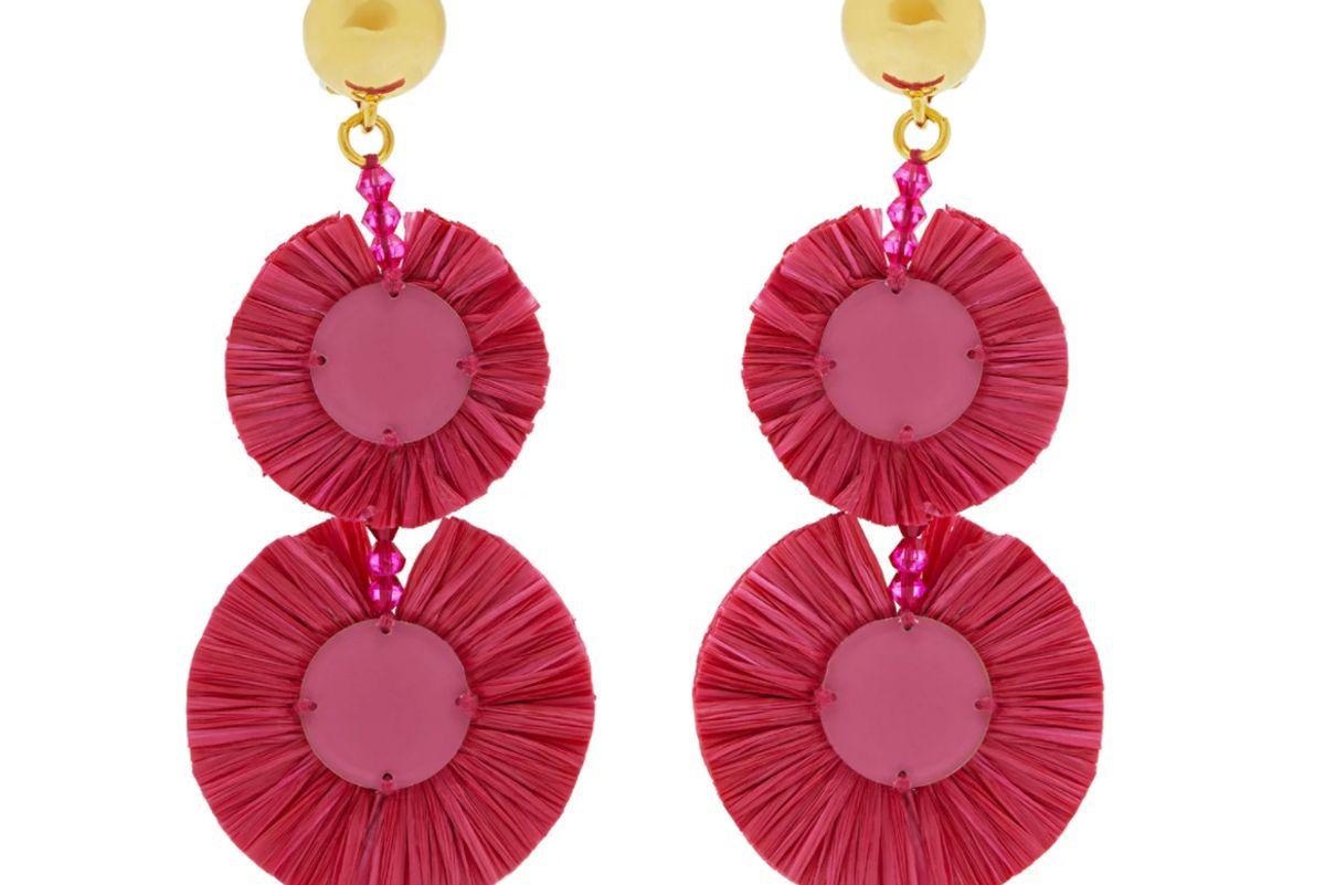 oscar de la renta bead embellished raffia disc drop earrings
