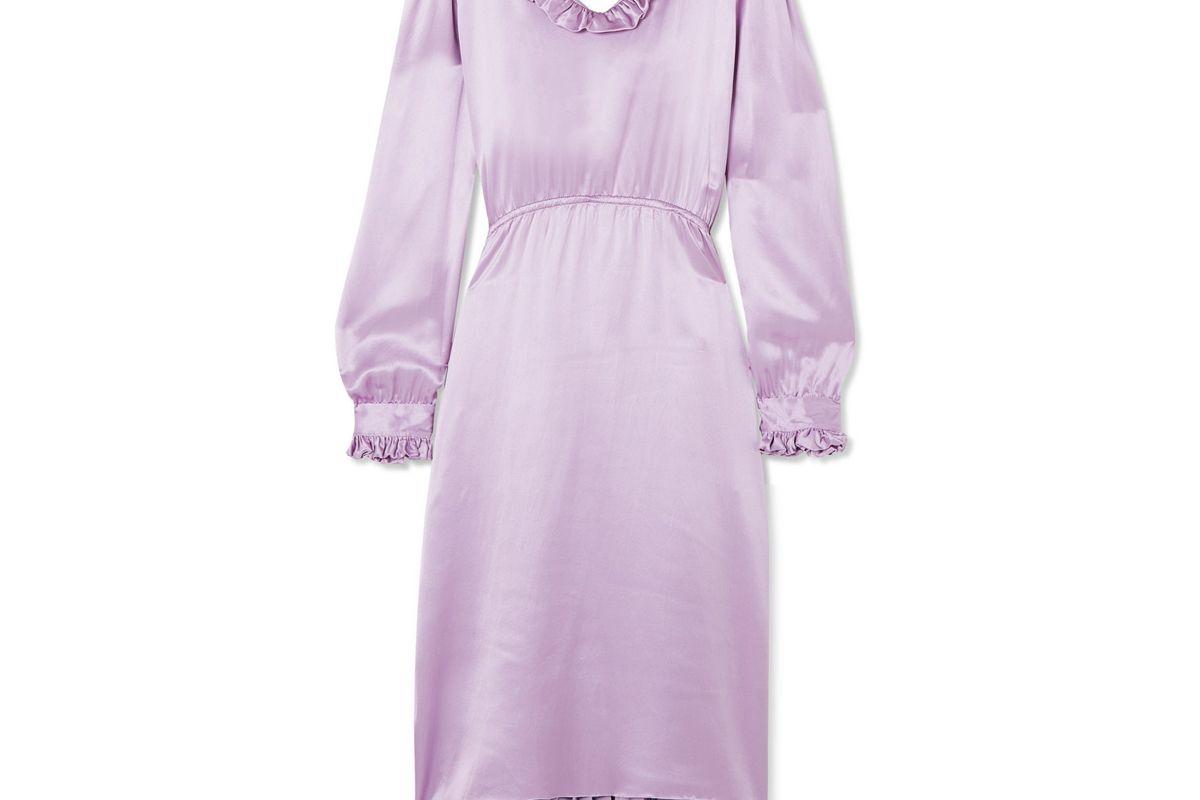 balenciaga hybrid ruffled silk satin and pleated crepe de chine dress