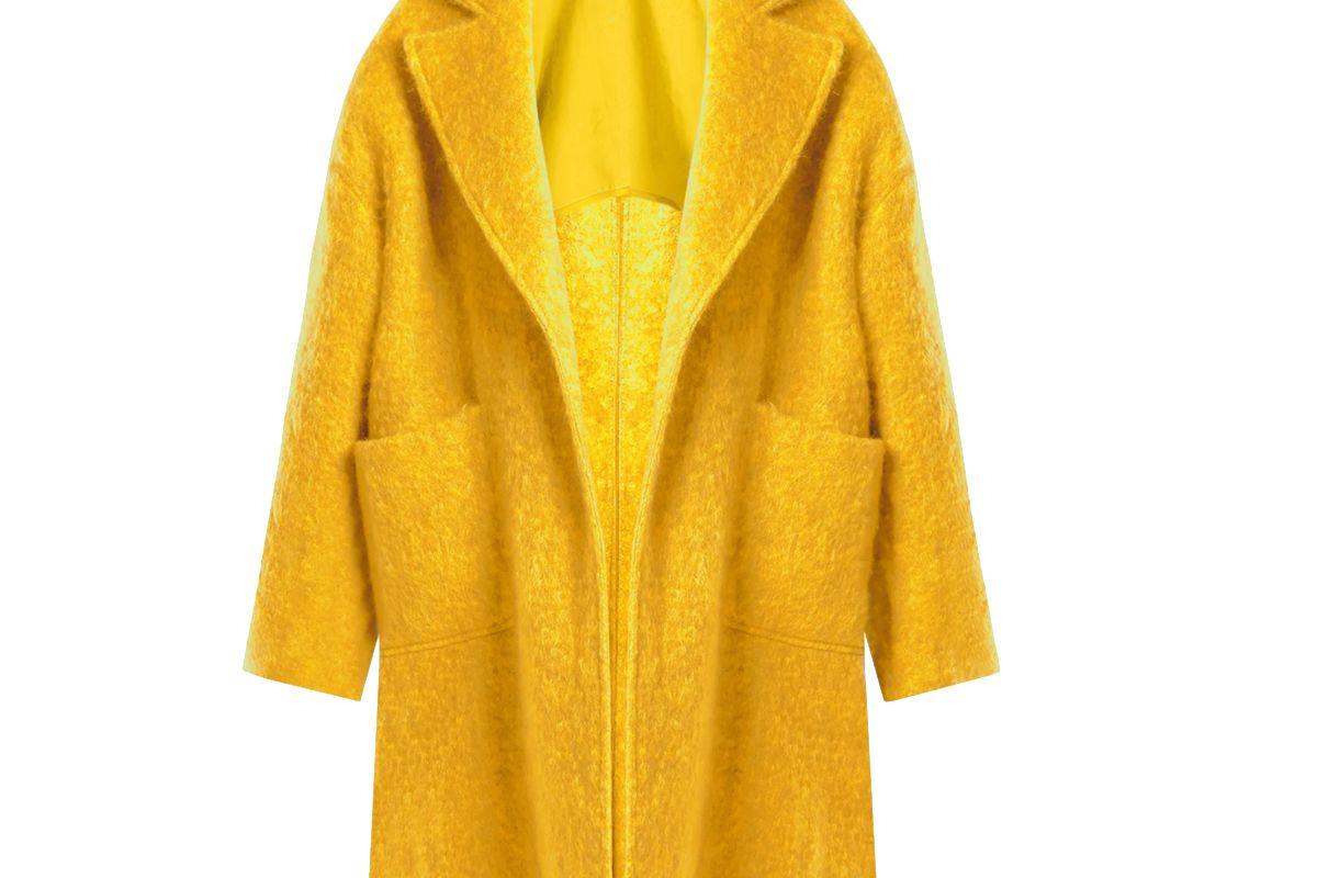 raey dropped shoulder wool blend blanket coat