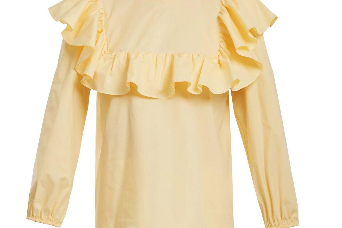rochas round neck ruffled cotton blend top