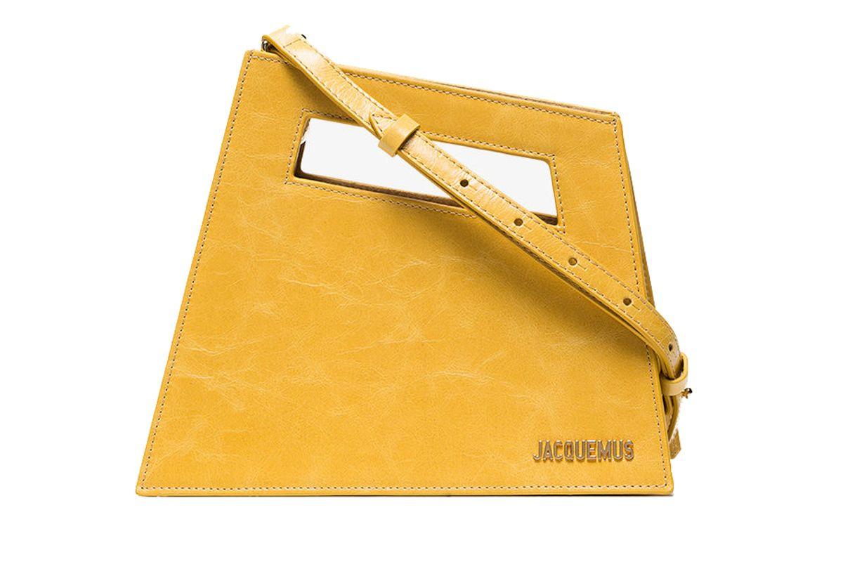 jacquemus yellow le petit leather shoulder bag