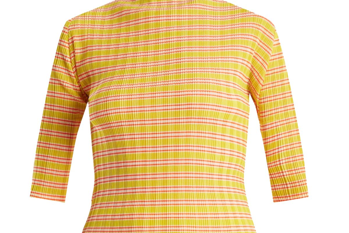 pleats please issey miyake striped pelated top