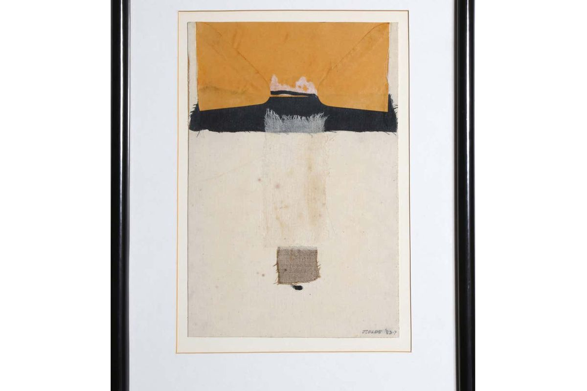 jean olds reaching mixed media collage with fabric 1983