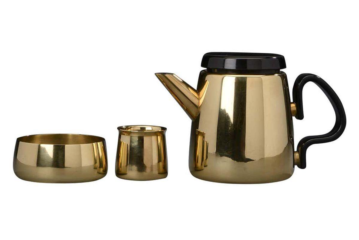 henning koppel for georg jensen danish modern brass tea set
