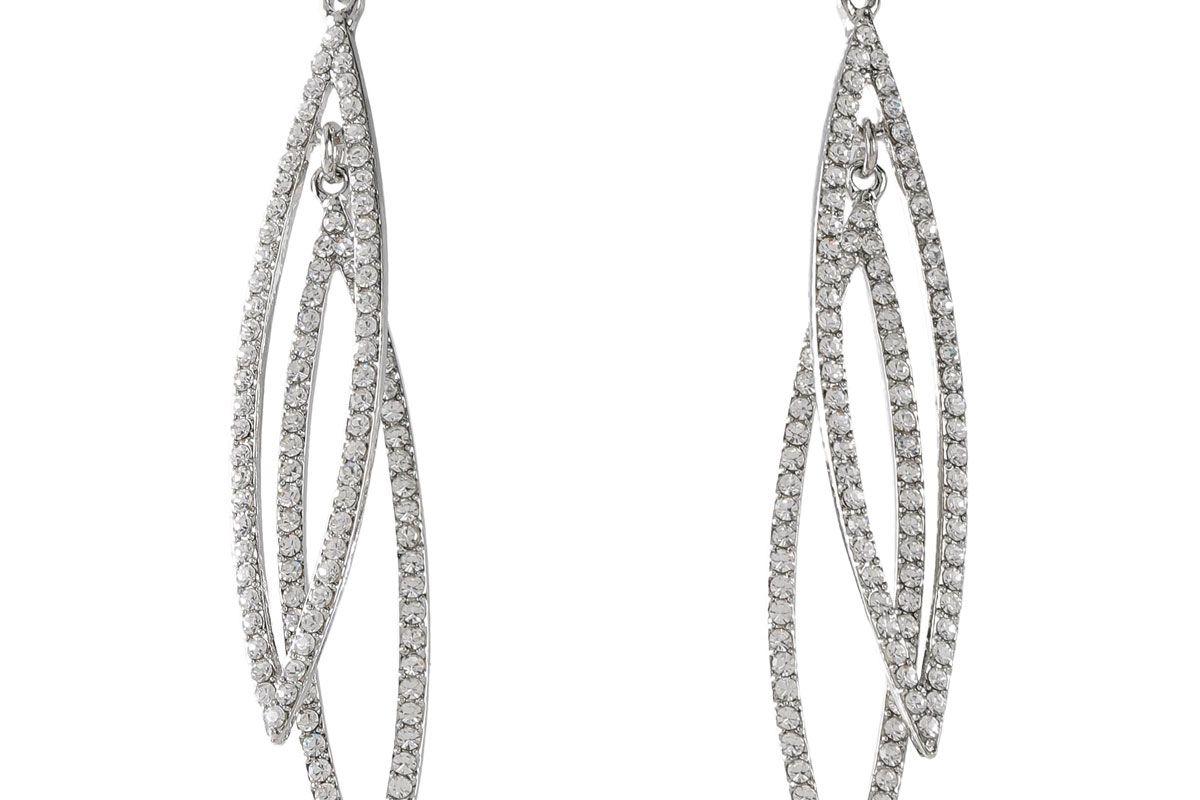 kenneth jay lane rhodium plated crystal earrings