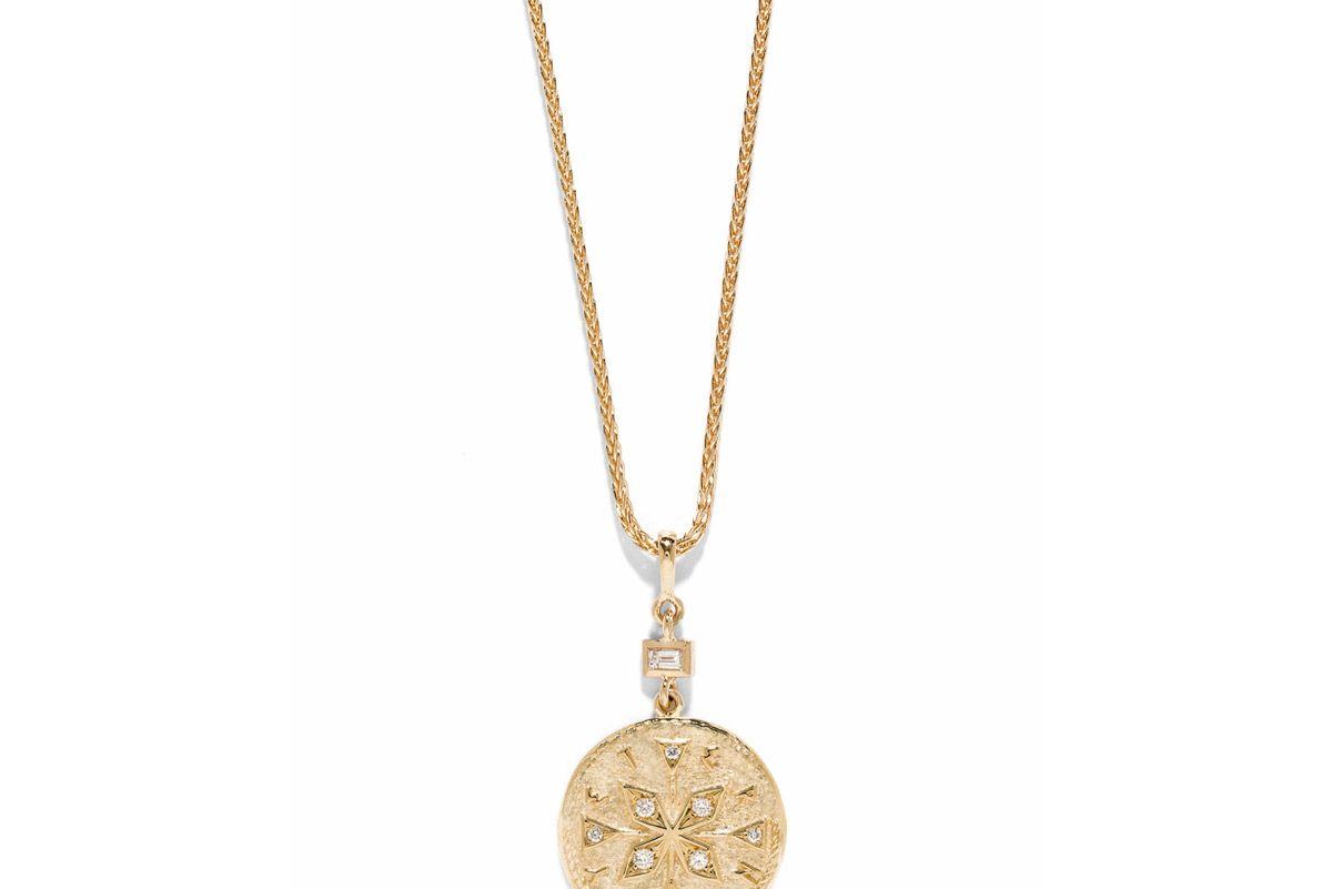 azlee compass coin small diamond necklace