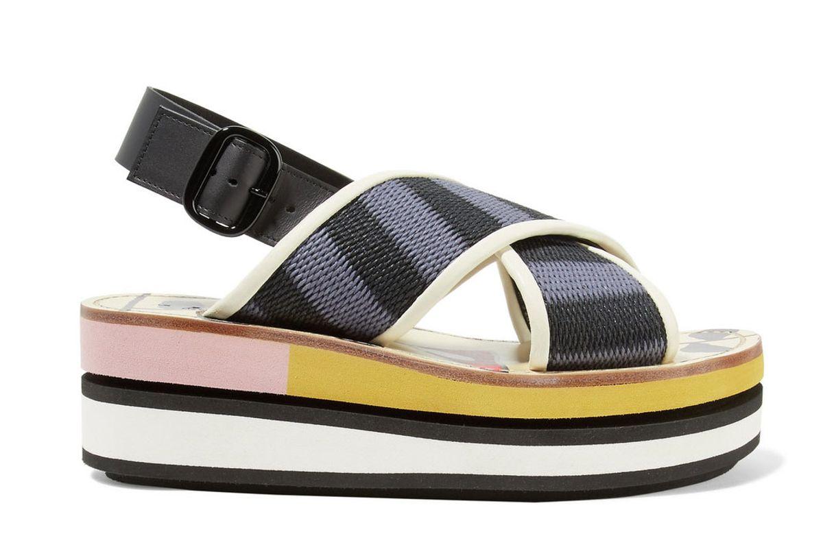 marni leather trimmed woven canvas platform slingback sandals
