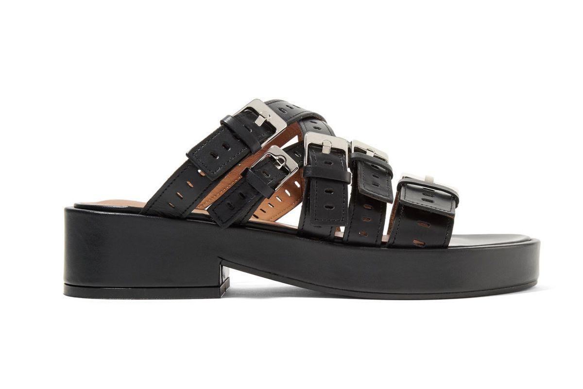 clergerie fantom buckled laser cut leather platform sandals