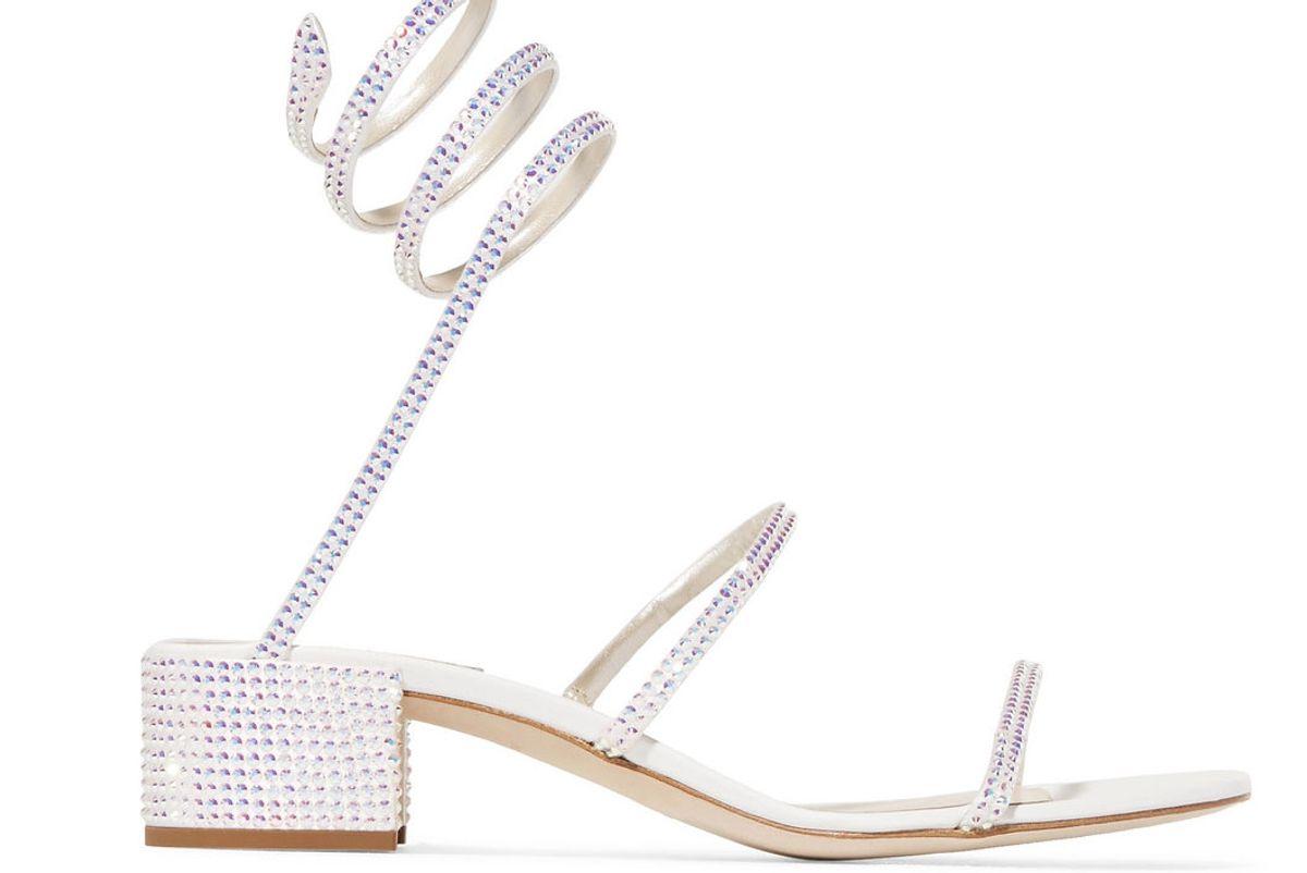 rene caovilla crystal embellished satin and leather sandals