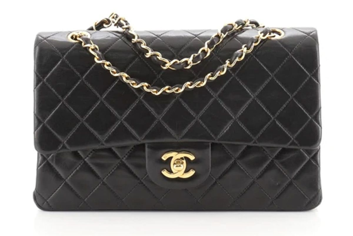 chanel vintage classic double flap quilted lambskin bag