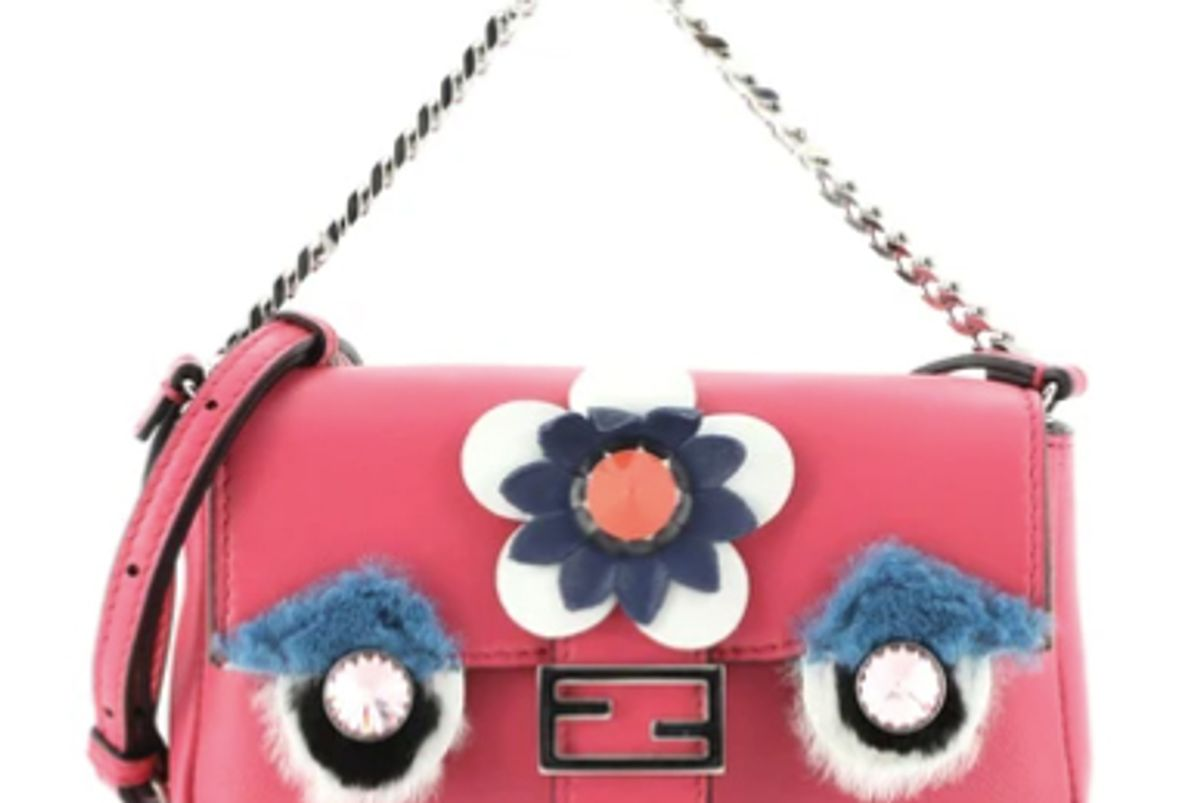 fendi leather and fur micro monster baguette