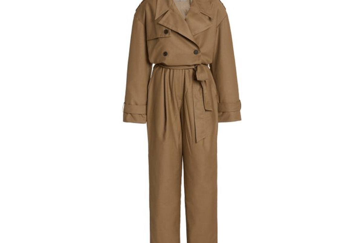 the frankie shop gabardine double breasted trench jumpsuit